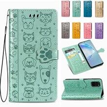 cartoon cute Silicone Case For Samsung S20 ultra S10 lite S8 S9 plus A51 A71 5G A91 A50 A70 A20 A21 A41 Leather Flip Wallet Case