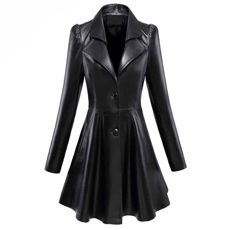 2021  Fit and flare faux leather coat notched lapel long sleeve puff sleeve Skirted black plus size leather blazer slim fit