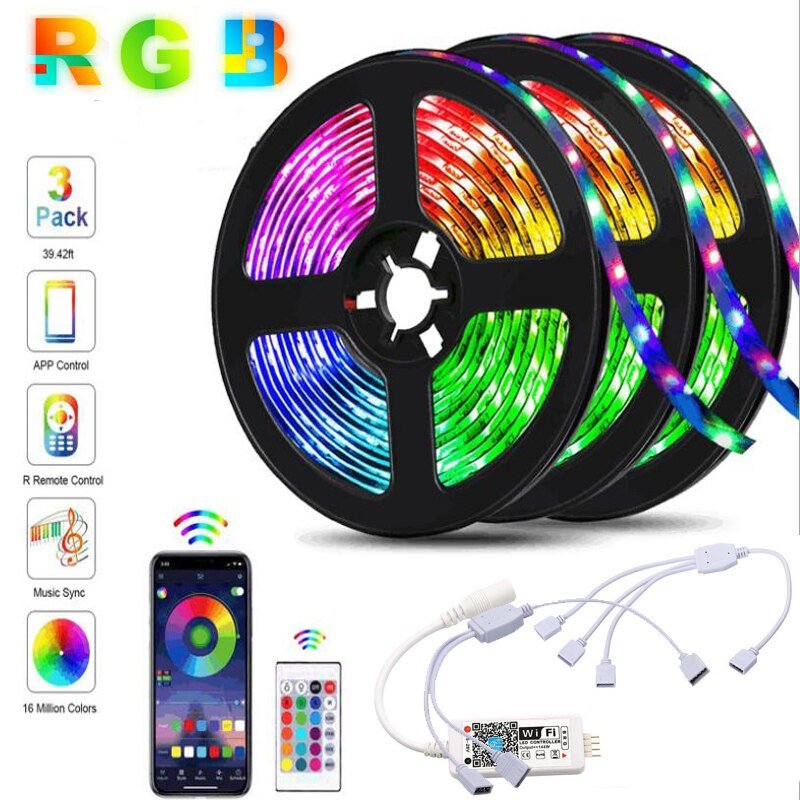 EASEKING 5M led luces para la habitación 12V luz flexible 300leds WIFI inteligente luces de tira de led tira led rgb 5050