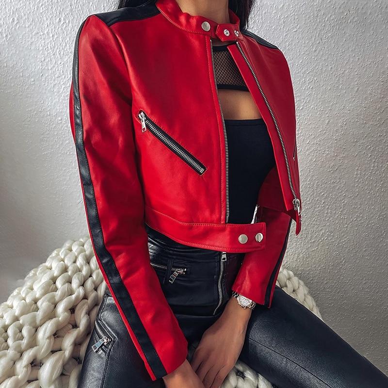 2020 New Autumn Zipper Motorcycle Jacket Women Short Faux Soft Leather Jacket Black Red Leather Jack