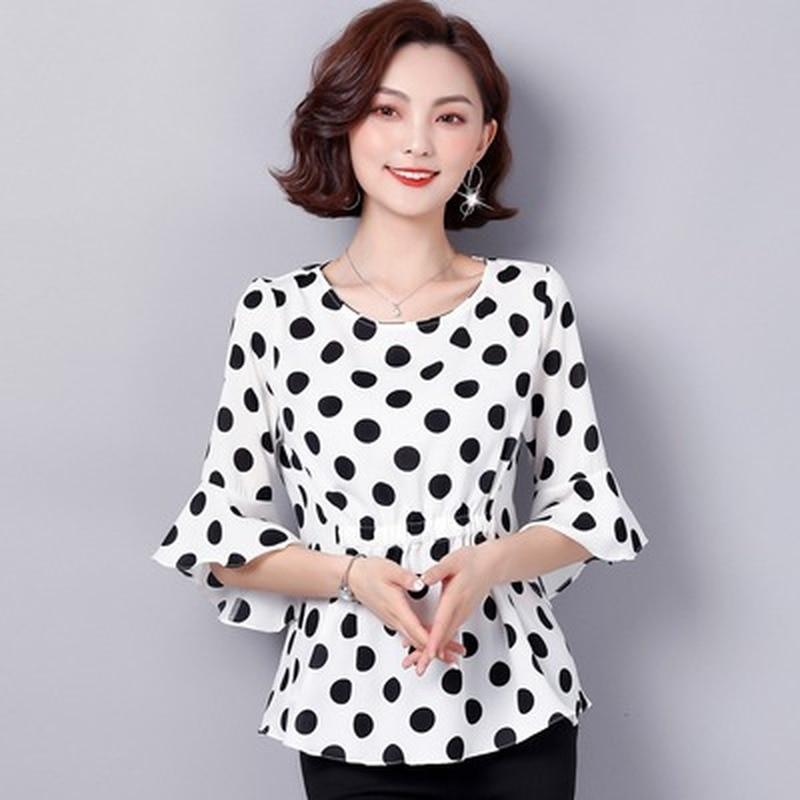 Nuevo vestido de talla grande para mujer es muy popular, camisa pequeña extranjera, cintura con volantes, top de lunares de gasa