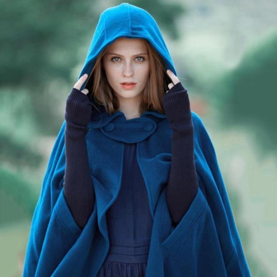 ZOGAA Autumn Women Hood Cloak Cashmere Shawl Loose Female Vintage Solid Hooded Floor-Length Medieval Long Cape Hood Overcoats