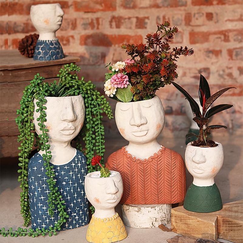 Vaso de Flores Decoração do Jardim Feliz Casa Arte Retrato Escultura Ornamentos Criativo Vaso