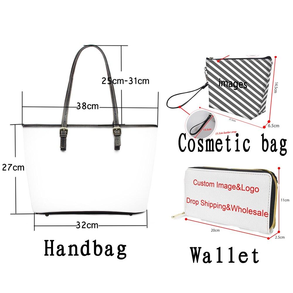 مخصص صورتك/شعار 3D تصميم 3 قطعة/المجموعة العلامة التجارية حمل أكياس كبيرة قدرة حقيبة كتف جلدية PU اليومية حقائب السيدات اليد حقيبة