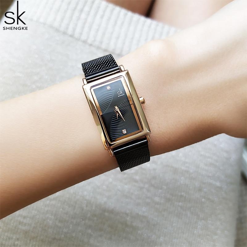 Shengke New Top Brand Luxury Women Watch Rectangle Dial Elegant Quartz Japanese Ladies Wristwatches Waterproof Gift Reloj Mujer