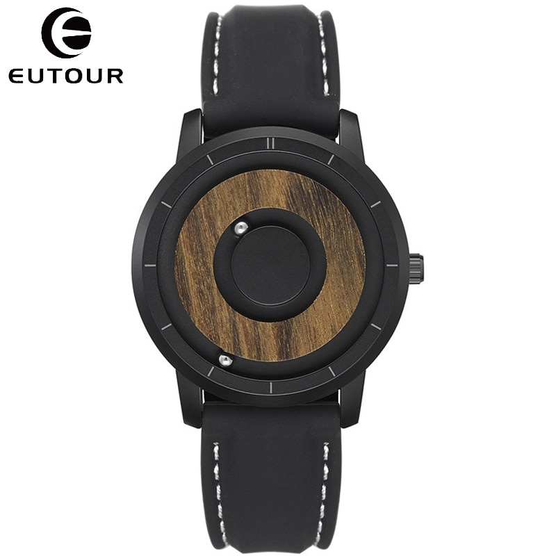 EUTOUR-ساعة رجالية من الخشب الأسود ، كرونوغراف مغناطيسي مع خرز معدني ، مينا خشبية إبداعية