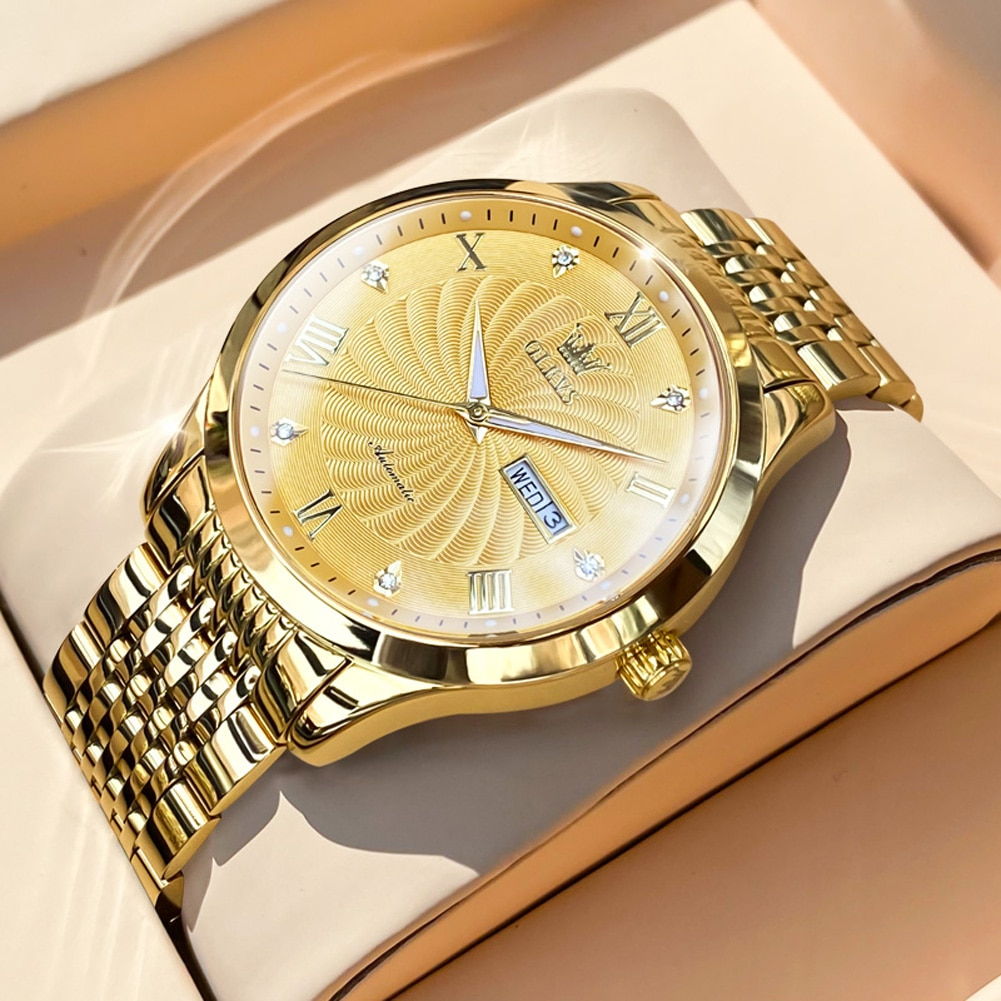 OLEVS Men Mechanical Watches Luxury Stainless Steel Waterproof Automatic Wristwatch 2021 Business Dress Self Winding Clock Reloj