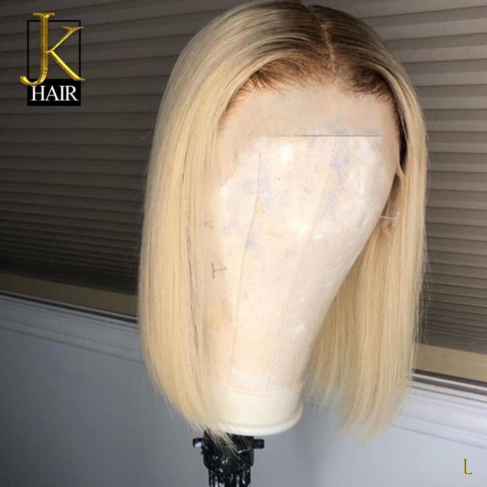 Remy Brazilian Short Bob Wig For Black Women Honey Brown Root 4/ 613 Blonde 13*4 Lace Front Human Hair Wigs JK Elegant Queen