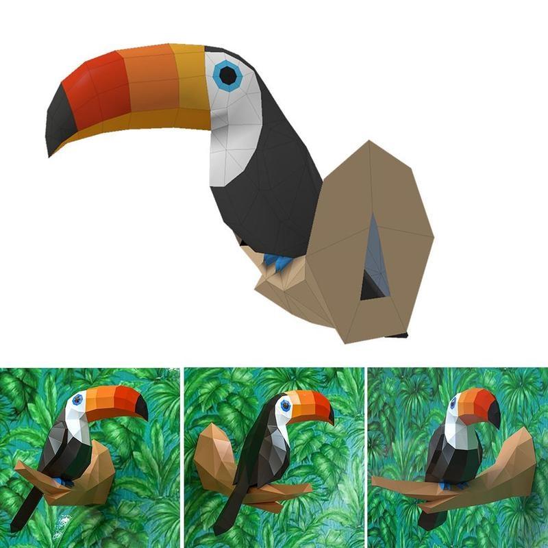 Modelo de papel 3D DIY, modelo de papel de pájaro hecho a mano, decoración del hogar, modelo de pájaro, decoración de pared, rompecabezas, juguete educativo, regalo de cumpleaños para niños