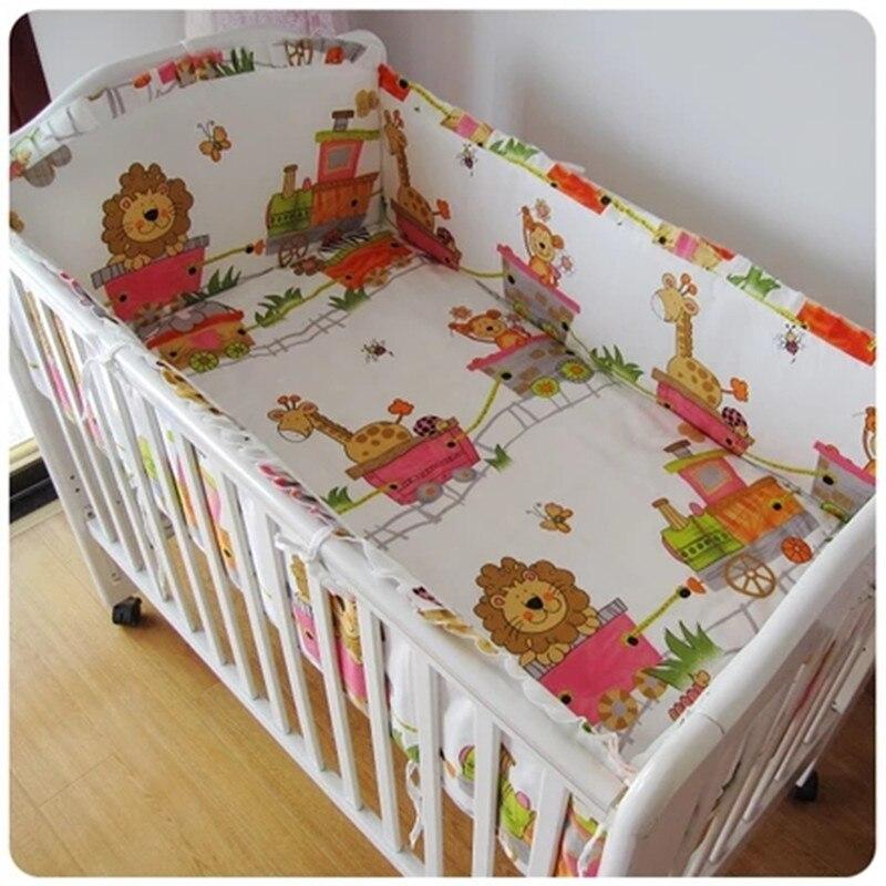 6 قطعة طقم سرير الطفل المهد حامي القطن الخريف والشتاء طقم سرير المهد جولة دي مضاءة بيبي (4 الوفير ورقة غطاء وسادة)