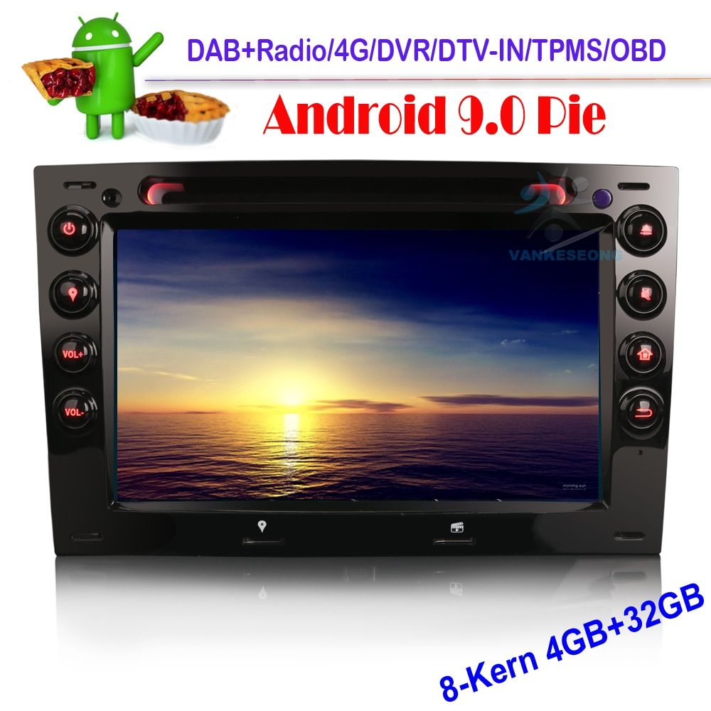 Android 9.0 Autoradio GPS NAVI DVD DAB+ Bluetooth TPMS 4G TNT for RENAULT MEGANE 2003-2010