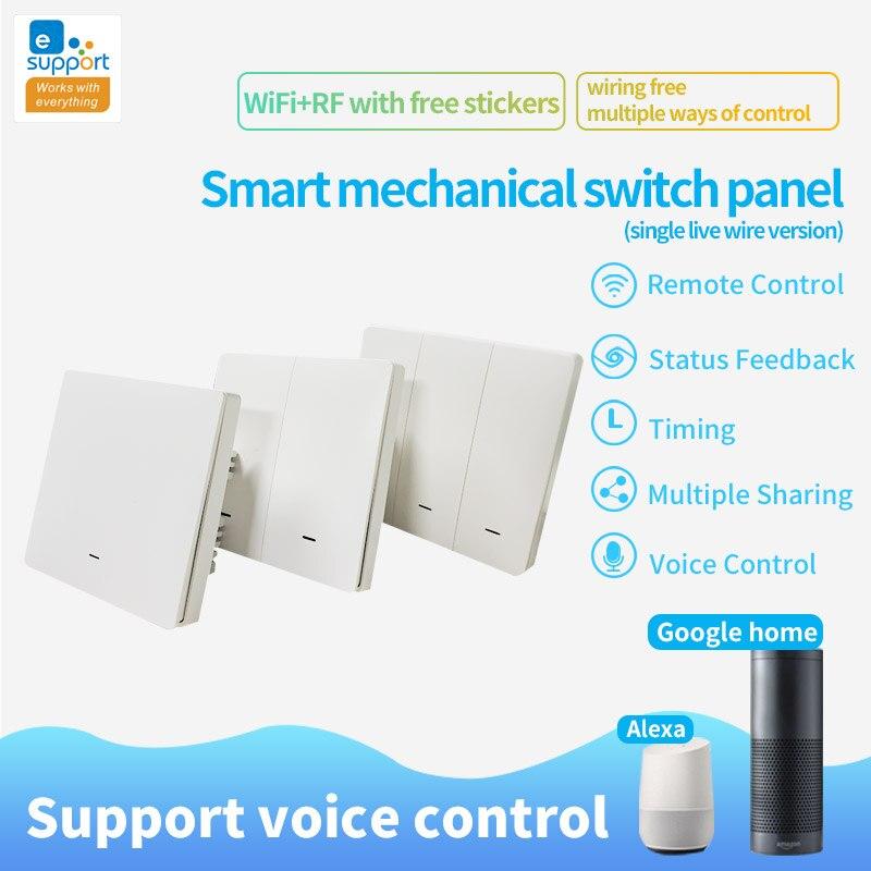 EWeLink Wifi + RF433 смарт-переключатель кнопочные выключатели света 1 2 3 банды беспроводной пульт дистанционного управления Google Home Alexa совместимый