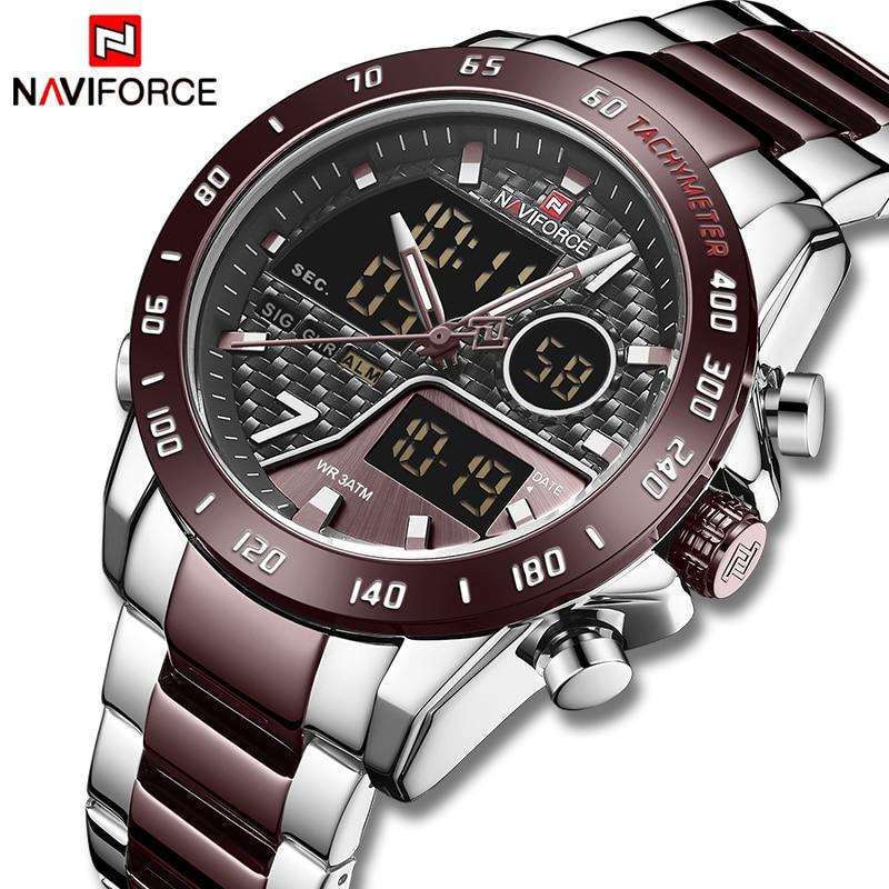 NAVIFORCE nuevo reloj para hombre, marca de lujo superior, relojes deportivos impermeables de cuarzo, reloj de pulsera Digital analógico, reloj Masculino