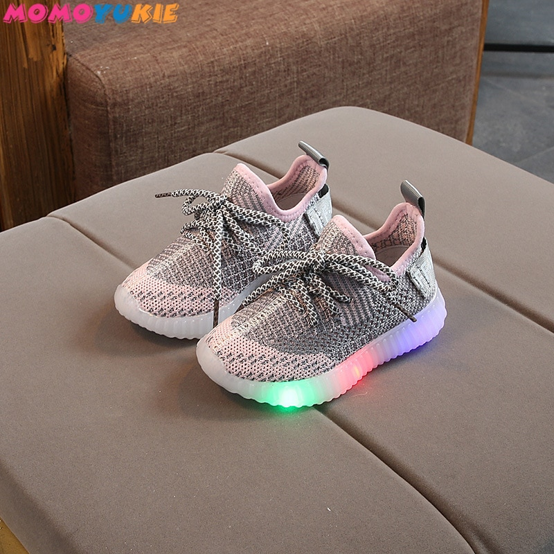 New Children Luminous Shoes Boys Girls Letter Sport Run Sneakers Casual Shoes Fashion Kids Mesh Spor
