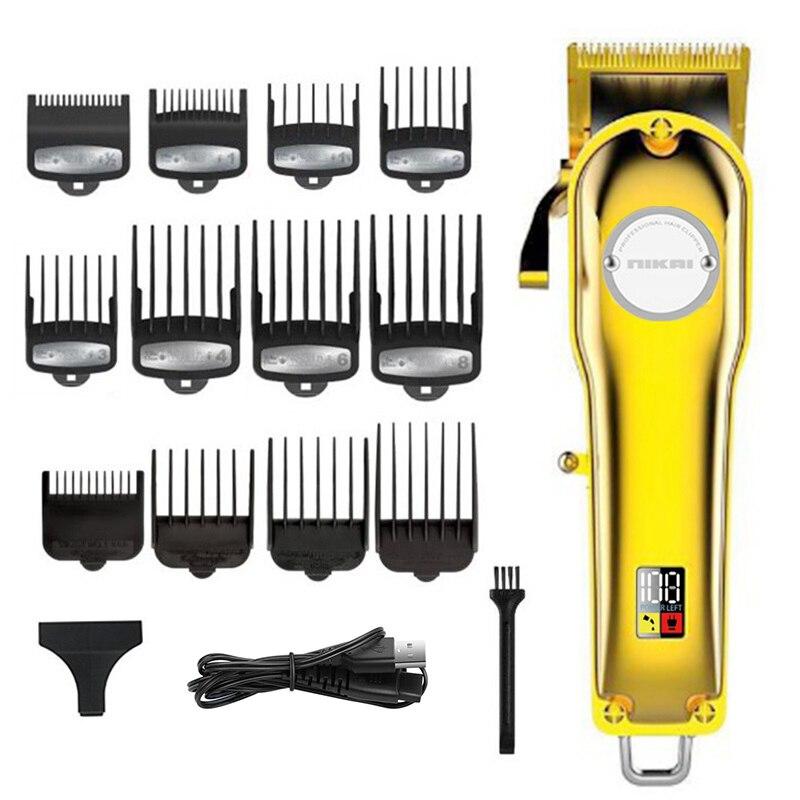 Maquinilla de cortar el pelo de barbero sin cable recargable para hombres cortadora de pelo eléctrica cortadora de pelo ajustable kit de corte de pelo carga USB