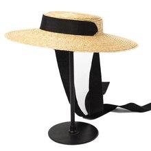 Wide Brim Boater Hat 15Cm Brim Straw Hat Flat Women Kentucky Derby Hat Black Ribbon Tie Sun Hat Beach Cap
