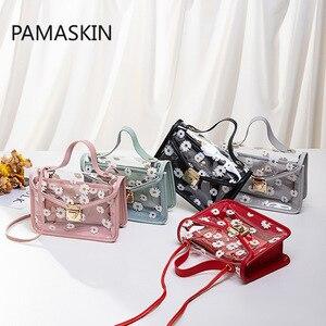 2021 New Women Transparent Bags Pattern Shoulder Bag Chain Strap Color Block Small Crossbody Bags Handbag Composite Tote