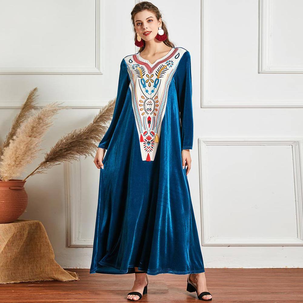 Winter Women Patchwork Long Dress Loose A Line Velvet Full Sleeves Embroidery Abaya Caftan Casual Muslim Modest Gown Plus Size