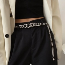 European and American Ins Metal Thick Waist Chain Women's Street Shot Hip Hop Punk Style with Dress