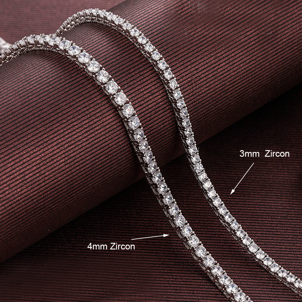 16-24 Inch 100% Guarante Real 925 Sterling Silver Pave 2mm/3mm/4mm Sparkly Zircon Tennis Chain Necklace HipHop Rock Fine Jewelry