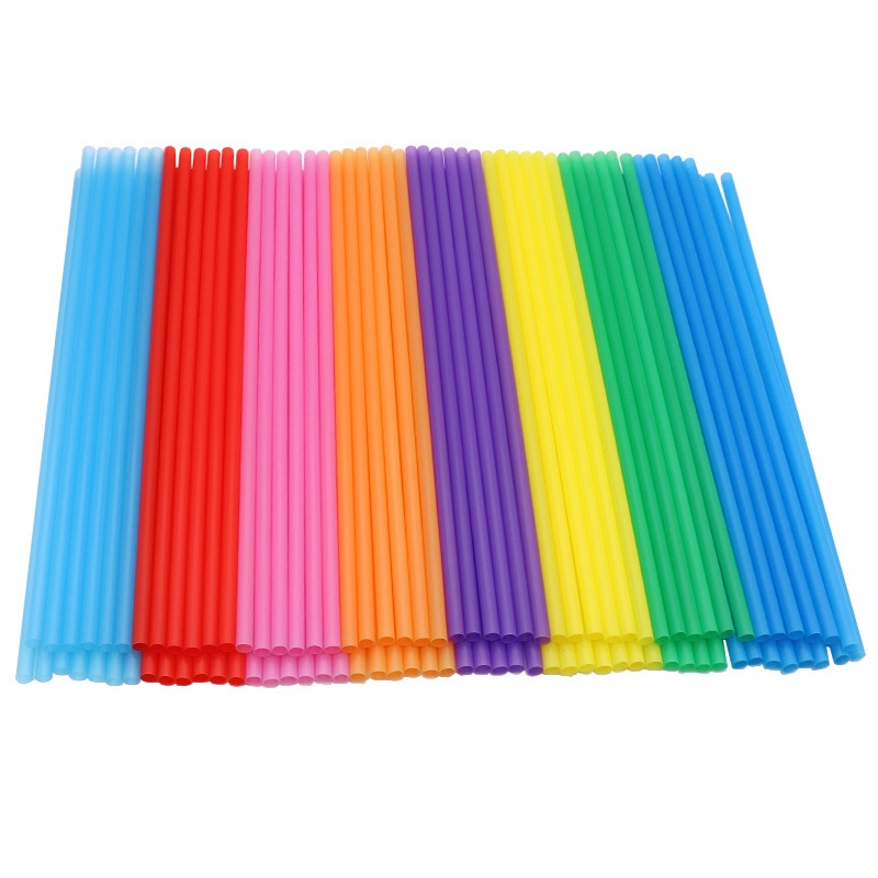 AliExpress - 100pcs Hot Sale Disposable Color Plastic Straw 6*190mm Handmade Diy Creativity Straight Pipe 100 Single Color 8 Colors Mixed