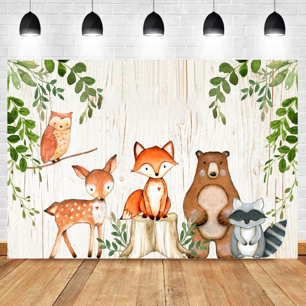 Laeacco лес сафари дикие животные день рождения детский душ индивидуальный фото фон фотография Фон Фотостудия