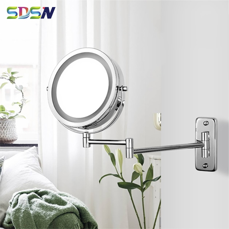 Светодиодный ные зеркала для ванной комнаты SDSN, качественное металлическое увеличительное зеркало для макияжа для ванной комнаты с двойно...