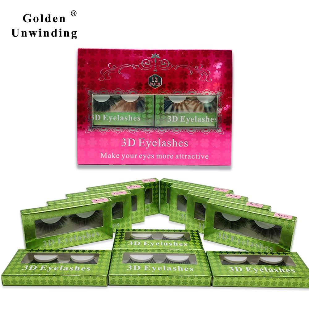12Pairs Makeup Eyelashes 5D Mink Lashes Natural Long Reusable False Eye Lash 3D Silk Golden Unwindin