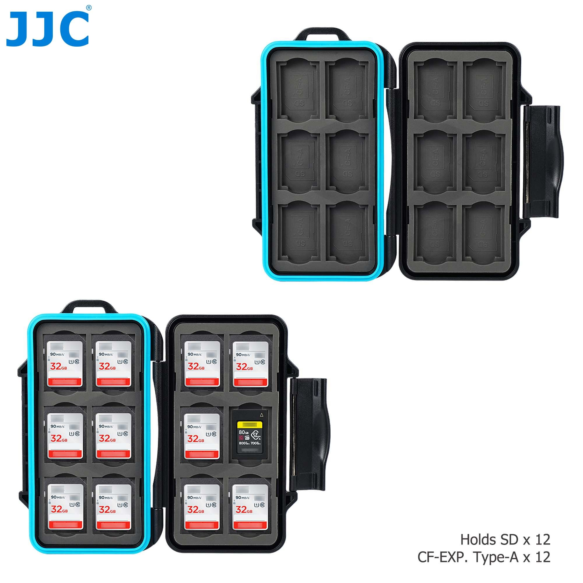 JJC 24 Slots Memory Card Case Holder for 12 SD SDHC SDXC + 12 CFexpress Type A Card Storage Organizer Box with Carabiner