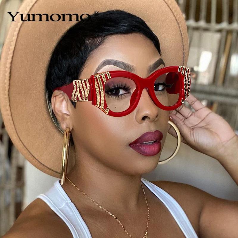 2020 Fashion Cat Eye Women Luxury Metal Decoration Sunglasses Vintage Anti-blue light Lens Eyewear M