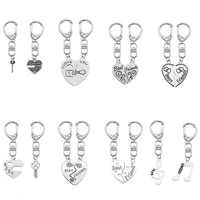 couple keychain for women girl heart shaped key note puzzle pendant accessories charms best friend jewelry gift dropshipping