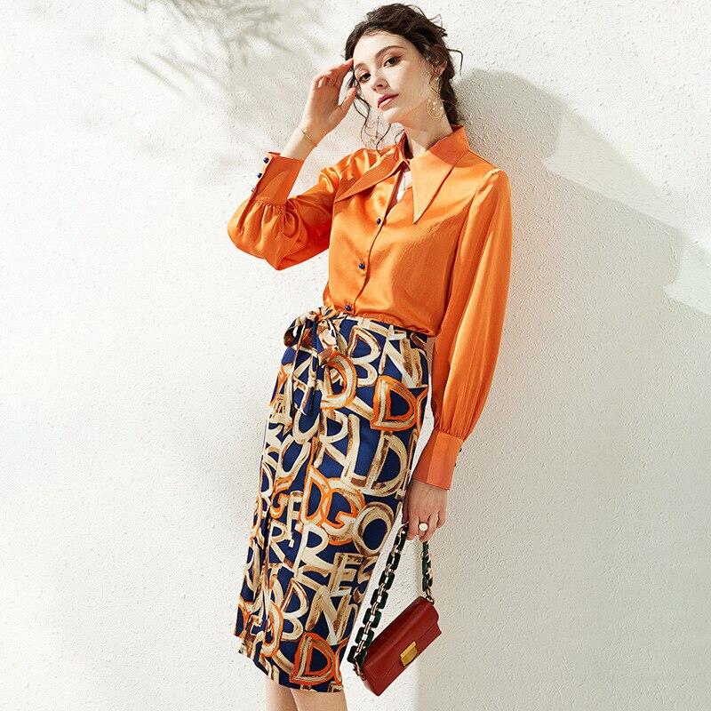 Spring / Summer 2020 French satin shirt design sense niche printed split skirt two-piece suit
