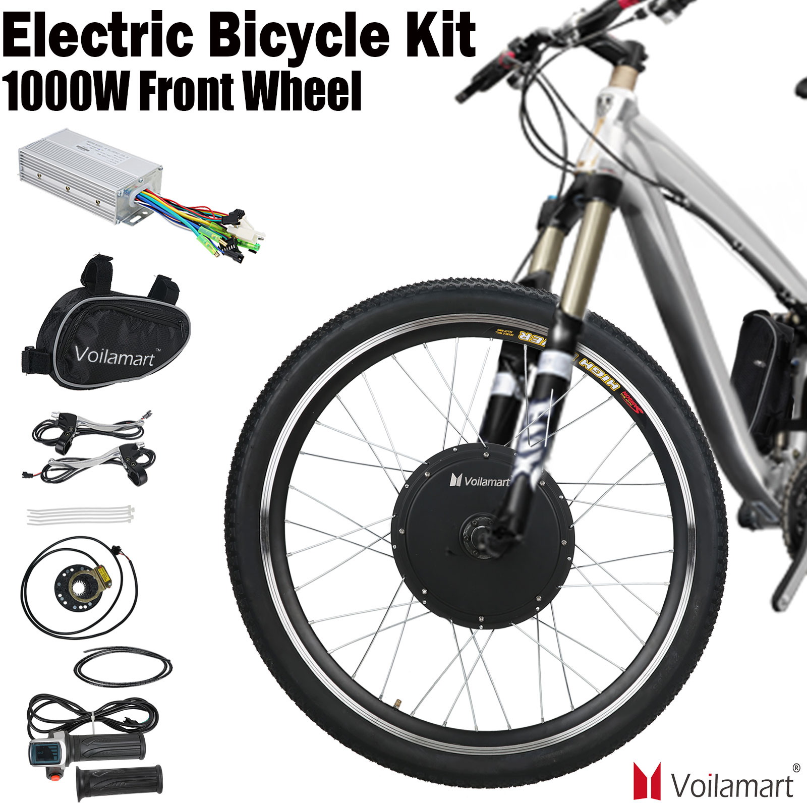 Voilamart 26 بوصة 48 فولت 1000 واط مجموعة تحويل الدراجة العاديّة إلى كهربائيّة بدون فرش بدون تروس محرك أمامي عجلة E دراجة دراجة محور محرك