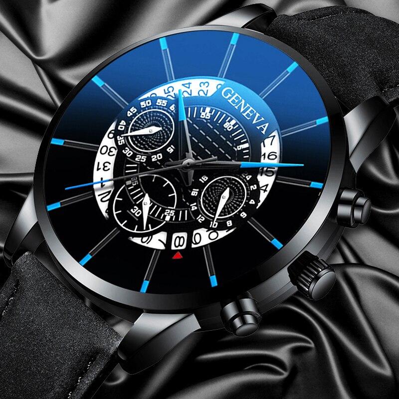 ¡Moda 2019! Relojes GENEVA de cuero de lujo para hombre, reloj de pulsera de cuarzo, reloj deportivo militar para hombre, reloj Masculino