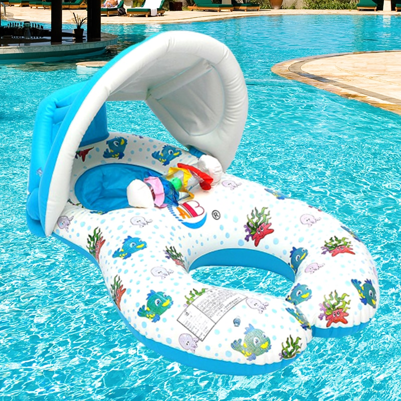 Portable Baby Pool Float Neck Ring With Subshade Portable Mother Children Swim Circle Inflatable Safety Swimming Ring Float Seat
