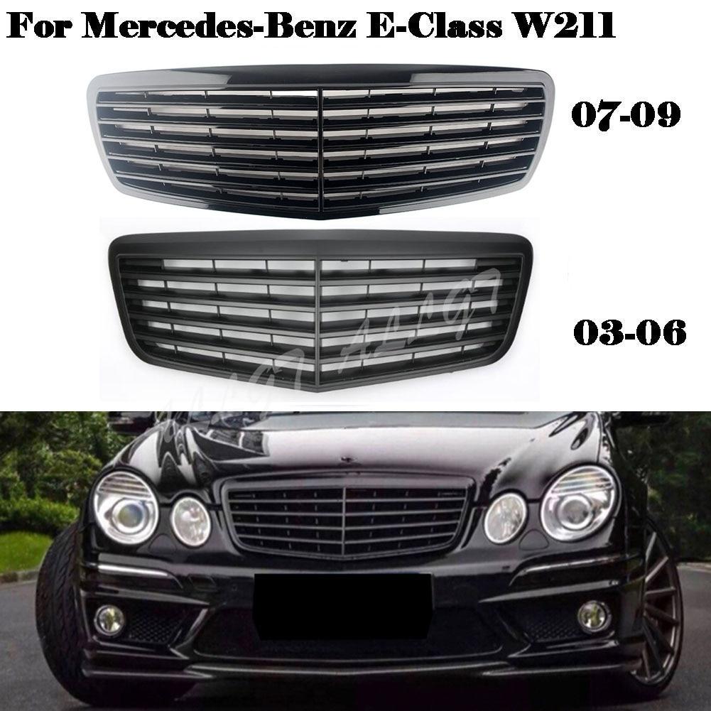 Front Grill Center Hood Grille Bumper For Mercedes-Benz E-Class W211 E200 E240 E320 2003 2004 2005 2006 2007 2008 2009 Black