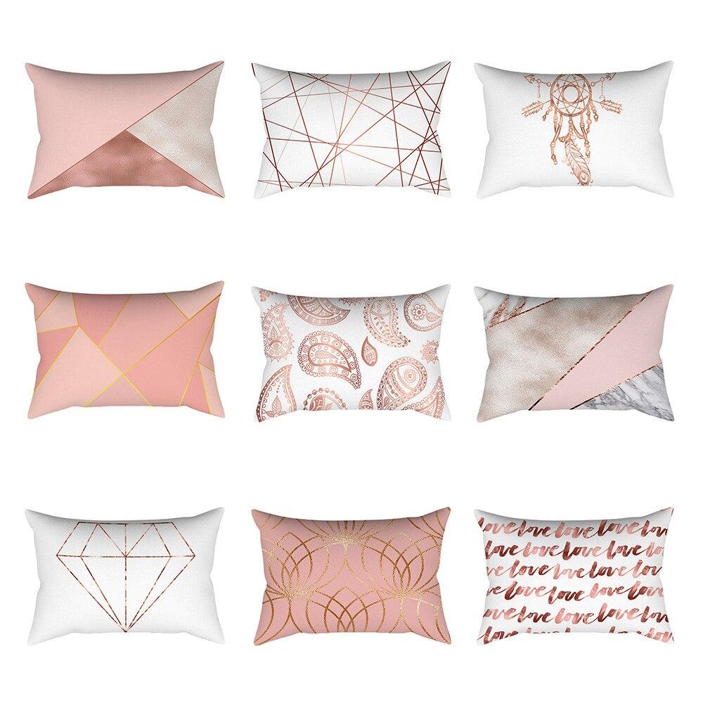 Oro rosa almohada rectángulo almohada casa decoración cojines decoración del sofá de coches almohadas almofada fundas наволочка # L5