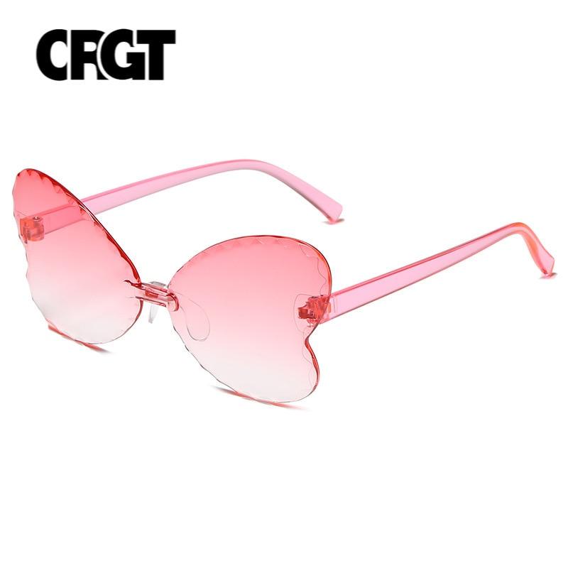 Fashion Shades UV400 Vintage Glasses Kids Lovely Butterfly Rimless Sunglasses Girls Children Oculos
