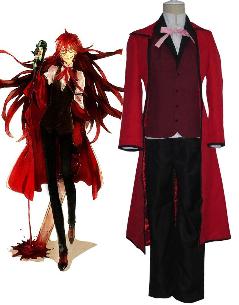 Traje de Cosplay de uniforme rojo del Anime Black Butler Death Shinigami Grell Sutcliff, gafas de Carnaval, Disfraces de Halloween para hombres y mujeres