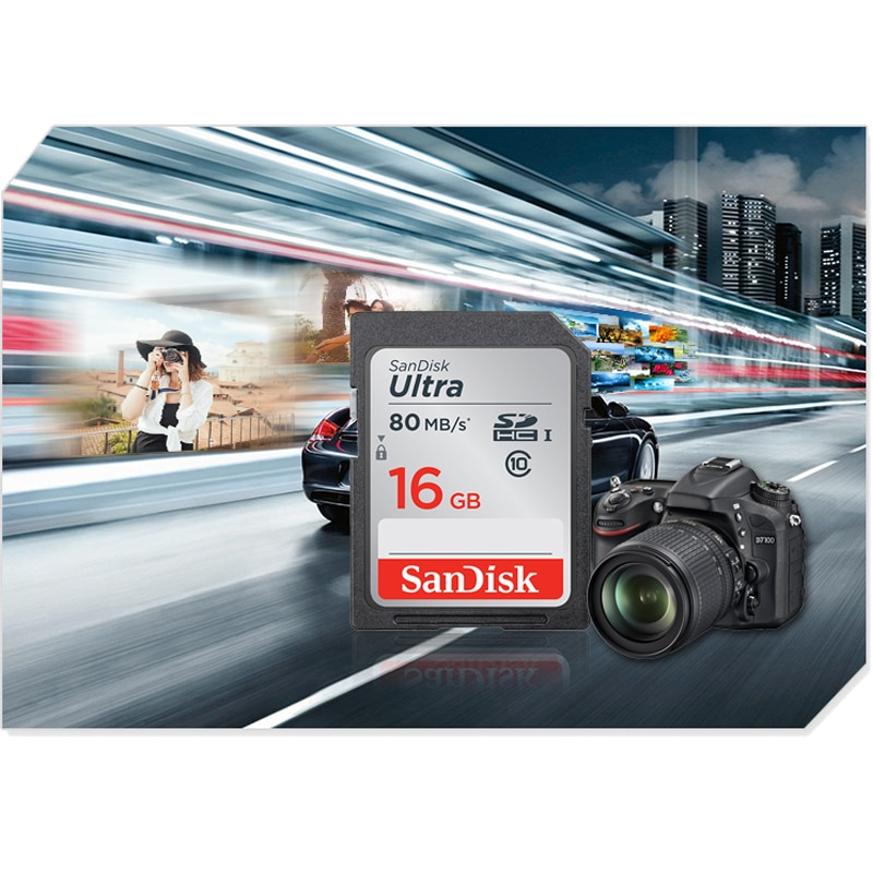 Original SanDisk SD Card Memory Card Ultra Class10 SD Card C10 UHS-I 80MB/s Read Speed for Camera Camcorder 16GB 32GB 64GB 128GB enlarge