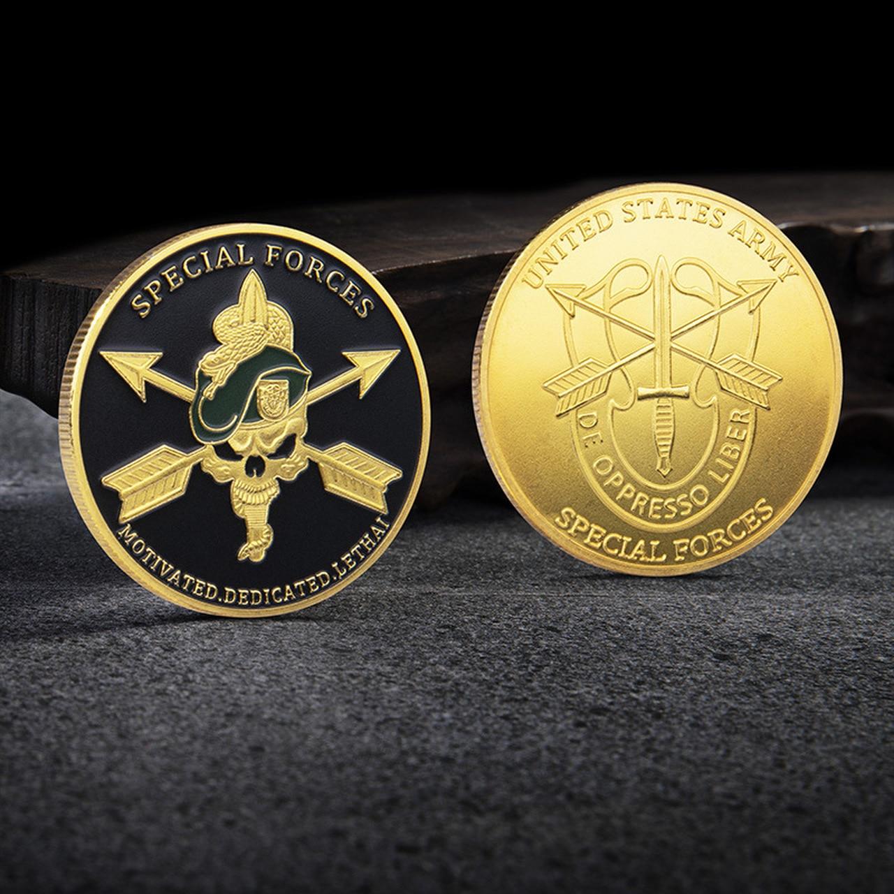 Двусторонняя Золотая монета спецназа в стиле милитари США, золотая монета, памятная монета, коллекция монет, значок, подарок