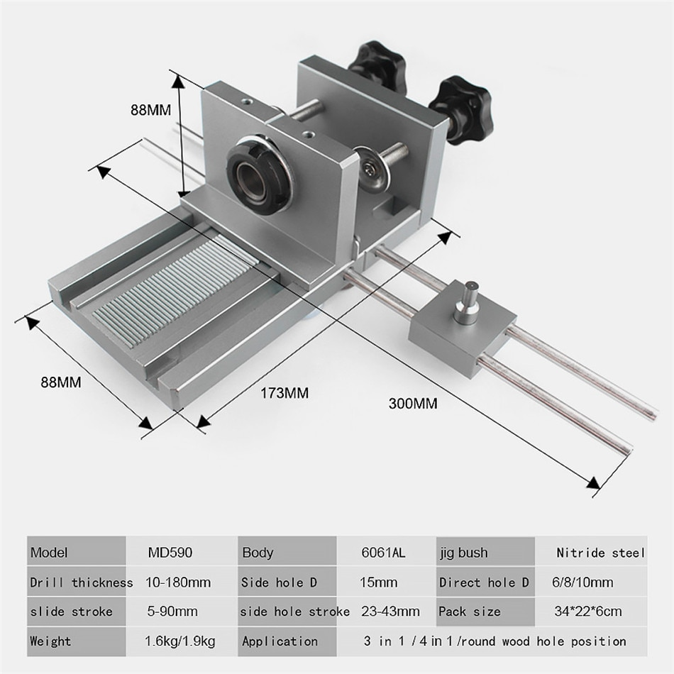 3 in 1 Quick Wood Doweling Jig Handheld Pocket Hole Jig System 6/8/10/15mm Drill Bit Hole Puncher For Carpentry Dowel Joint enlarge