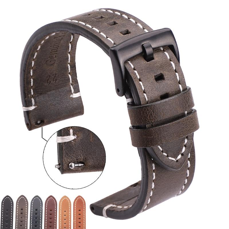 Correas de reloj de piel auténtica de estilo Vintage, accesorios de reloj,...
