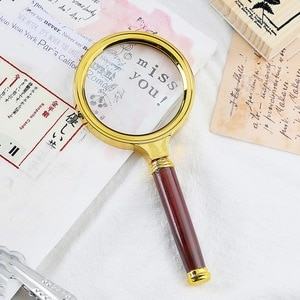 60mm 70mm 80mm Portable Handheld 10X Magnifying Glass Retro Handle Magnifier Eye Loupe Glass