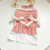 sweet dog sweater dress autumn winter puppy clothes soft elastic doggie costume comfortable homewear for small dog pet