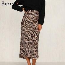BerryGo zèbre rayure femmes jupe midi taille haute droite imprimé animal femme bas jupe loisirs boîte de nuit fête dames jupe