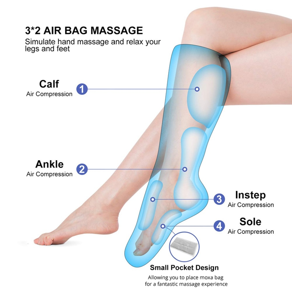 3D Airbags Compression Hot Compress Legs Massager Soothing Kneading Calf Massager Relax Ankle Heel Feet Relive Fatigue Machine enlarge