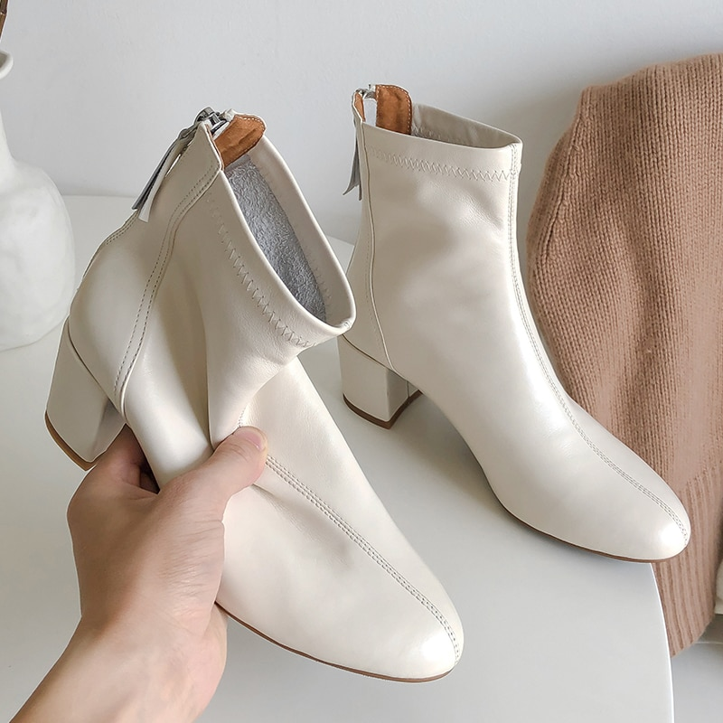 INS HOT Women Ankle Boots natural leather shoes Solid color back zip mid heel Cowhide upper + pigskin lining insole boots women trendy metal rivets and solid color design ankle boots for women