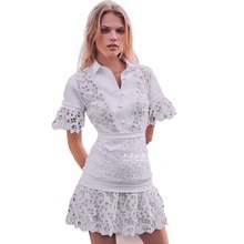 Imported Fabric Water Soluble Lace Runway Dress Lapel Flared Sleeves All-match High-waist A-line Sho