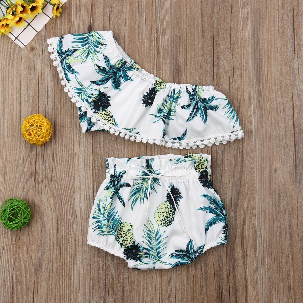 Bebê da criança meninas roupas abacaxi impressão colheita topos + cuecas 2 peças conjunto roupa verão 2020